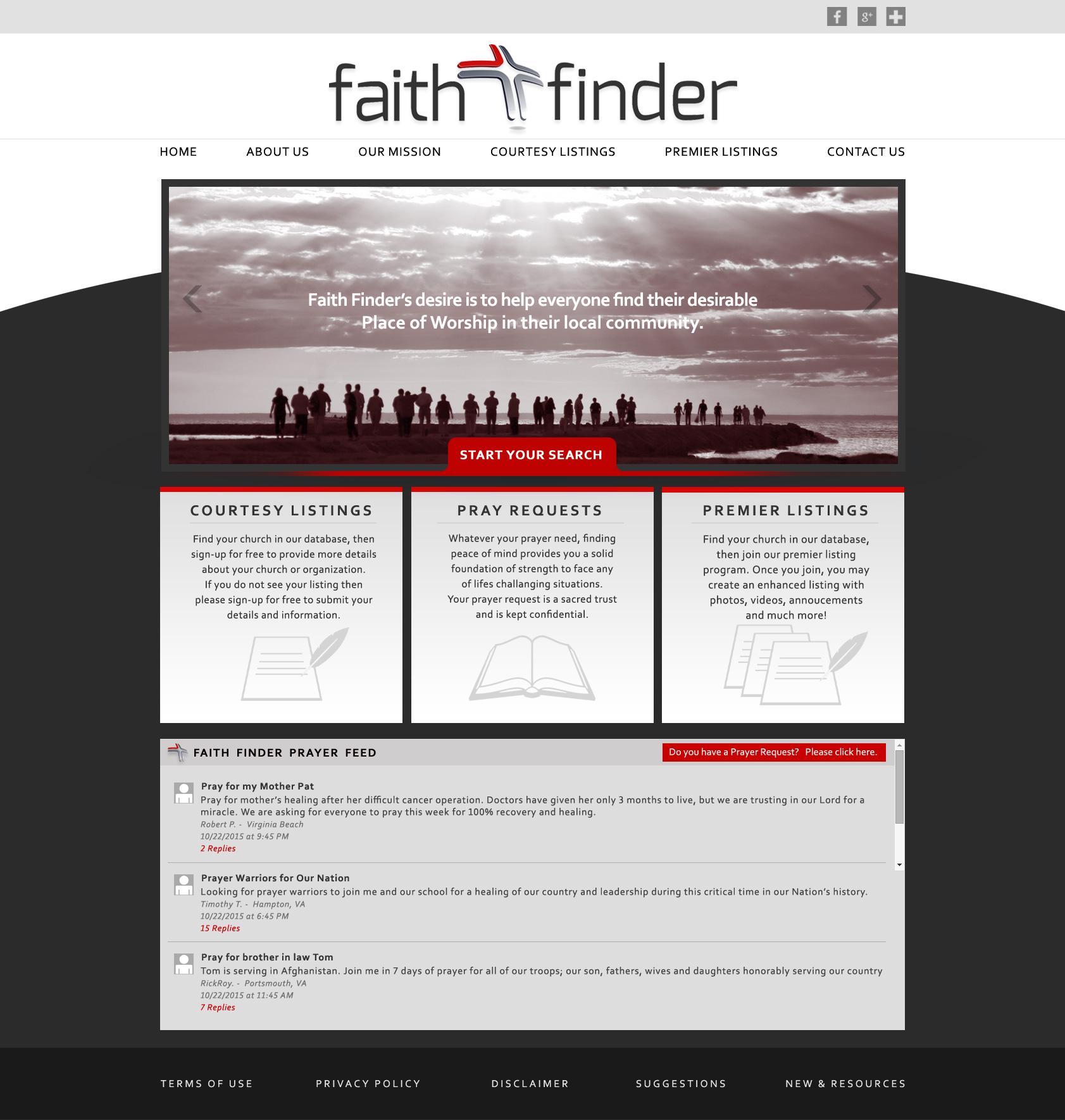 Responsive Web Designs Virginia Beach - VA : FAITH FINDER Website Design