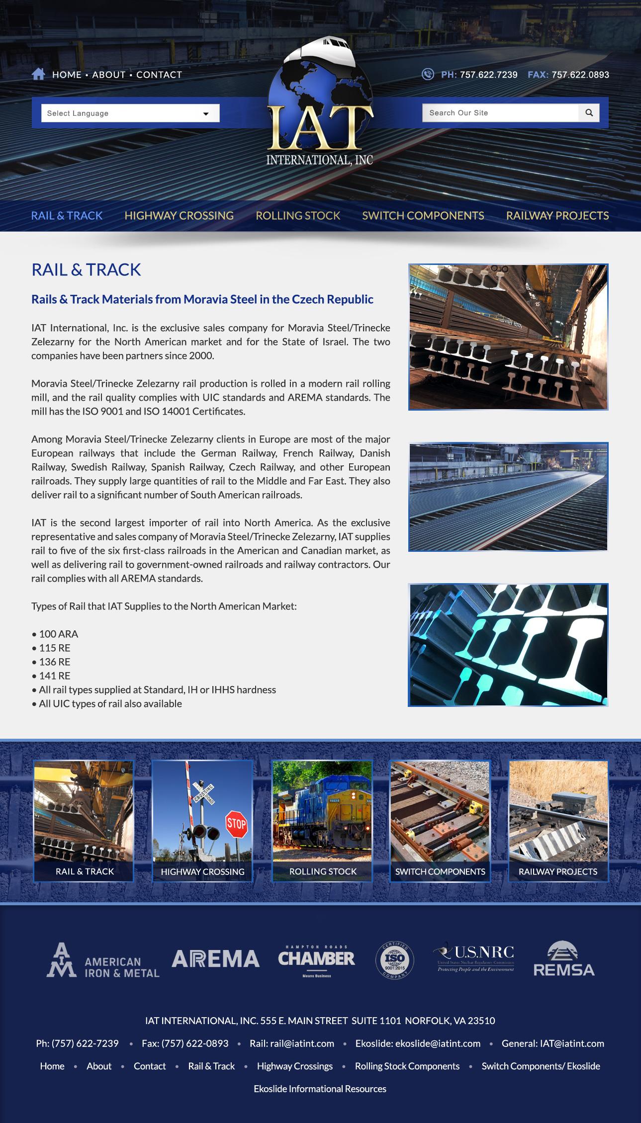 Railway, Railroad Product Company Website Design   VISIONEFX WEB DESIGN
