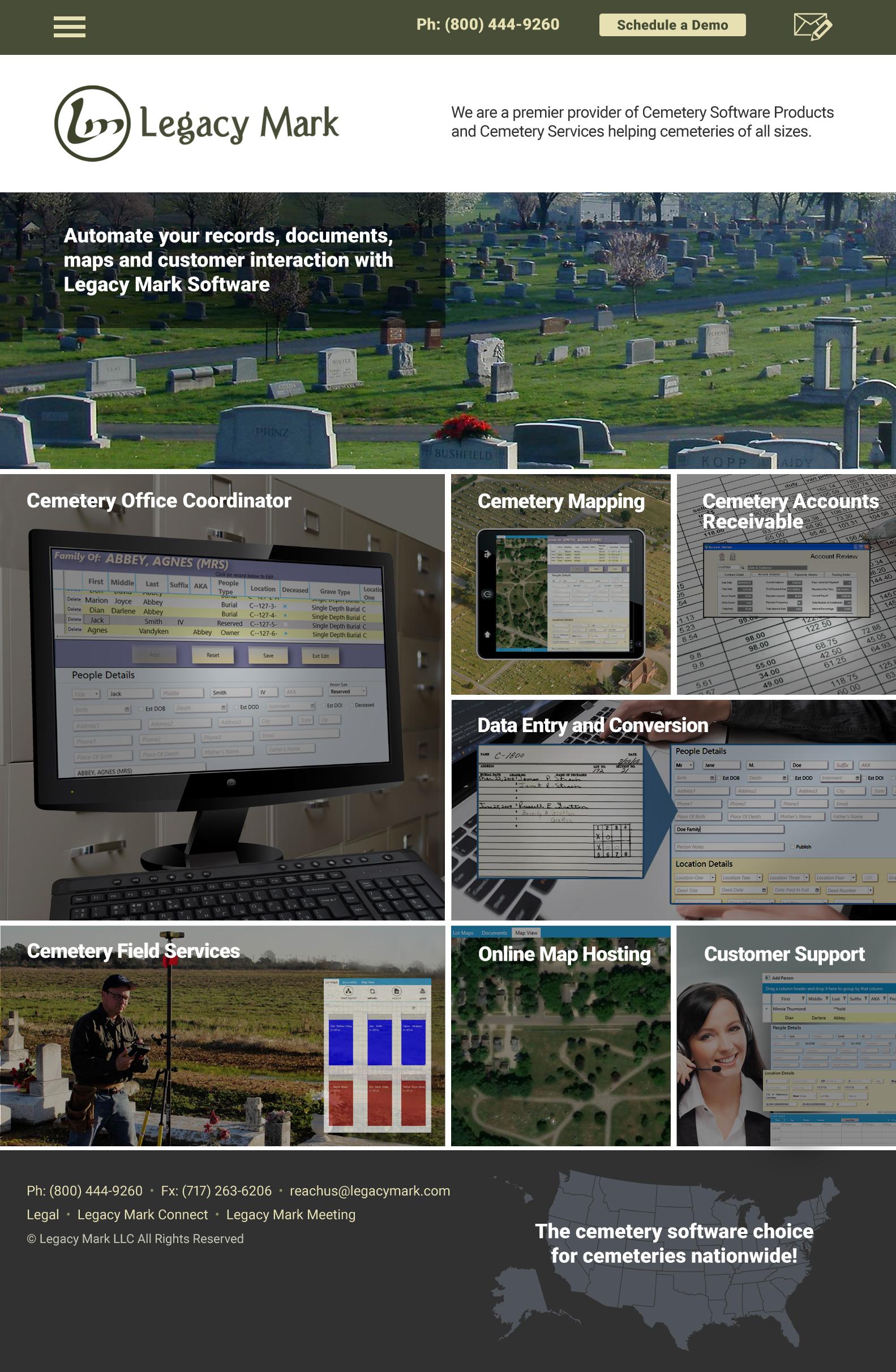 Web Design for Cemetery Software Business - Web Design