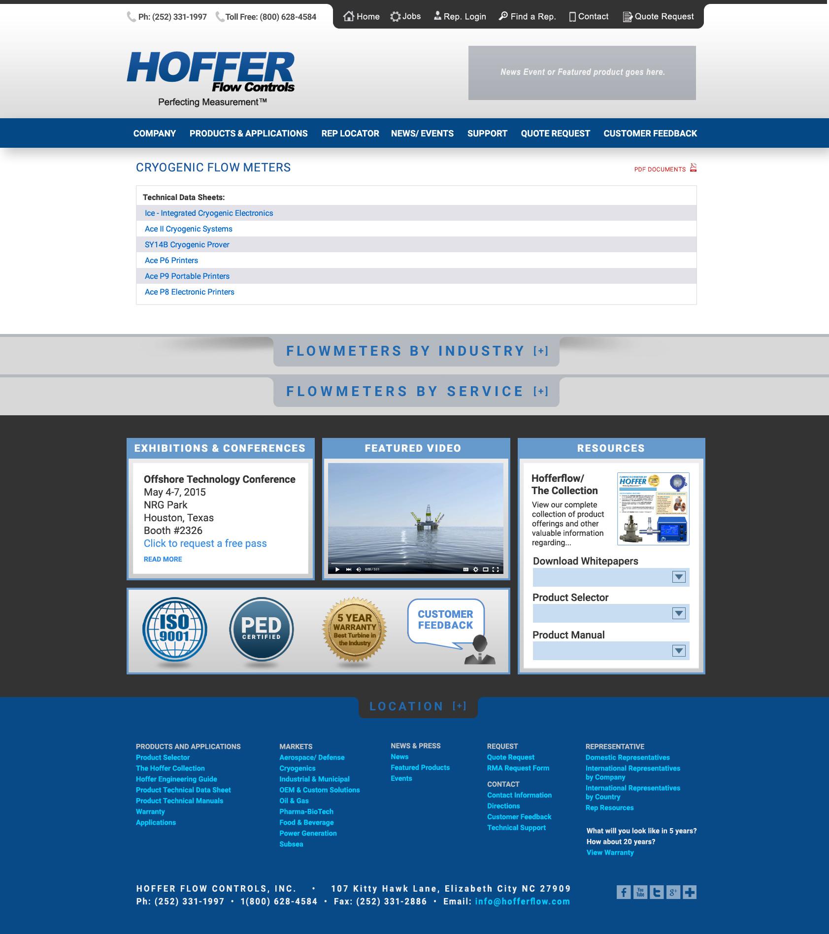 Responsive Web Designs Elizabeth City, NC : Hoffer Flow Controls